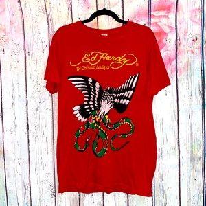 Vintage Ed Hardy Red T-Shirt w/Eagle & Snake